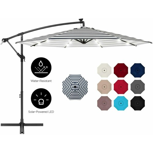 10ft Solar LED Offset Hanging Market Patio Umbrella Backyard Poolside Lawn